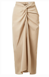 MAX MARA TWIST-FRONT WOOL-TWILL MIDI SKIRT
