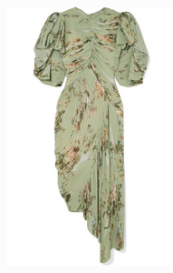 PREEN BY THORNTON BREGAZZI DRAPED PLEATED FLORAL-PRINT GEORGETTE DRESS