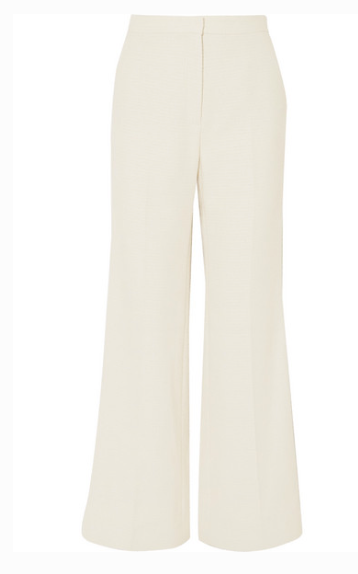 ALEXA CHUNG COTTON-BLEND BOUCLÉ FLARED PANTS