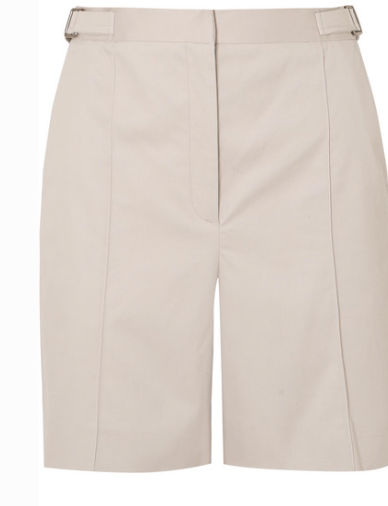 ALEXA CHUNG PLEATED COTTON-BLEND DRILL SHORTS