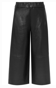 SPRWMN CROPPED LEATHER WIDE-LEG PANTS