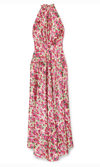 RAQUEL DINIZ GIOVANNA FLORAL-PRINT SILK-SATIN HALTERNECK MAXI DRESS