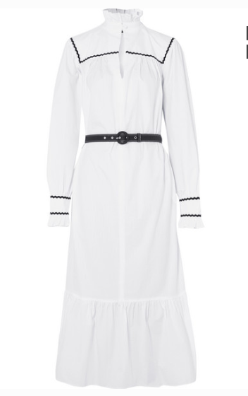ALEXA CHUNG RUFFLE-TRIMMED COTTON-SEERSUCKER MIDI DRESS