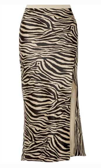Anine Bing DOLLY ZEBRA-PRINT SILK-SATIN MIDI SKIRT