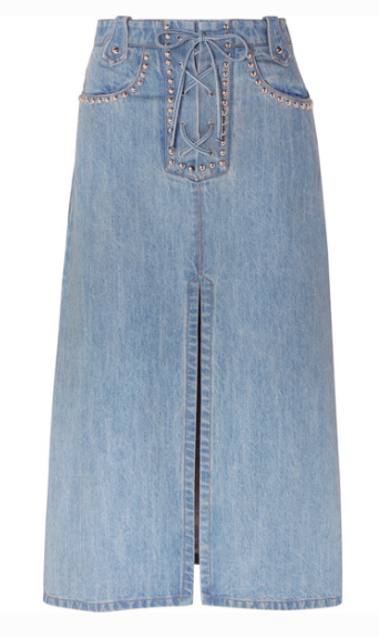 MIU MIU LACE-UP STUDDED DENIM MIDI SKIRT