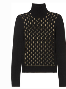CHLOE METALLIC INTARSIA WOOL-BLEND TURTLENECK SWEATER
