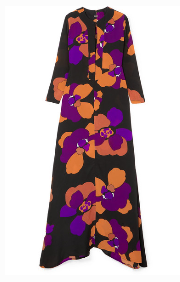 DODO BAR OR NINETTE FLORAL-PRINT SILK-CREPE MAXI DRESS