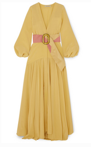 SILVIA TCHERASSSI FELICITY BELTED SILK CREPE DE CHINE MAXI DRESS