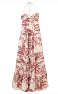 ZIMMERMANN KALI PRINTED LINEN HALTERNECK MAXI DRESS