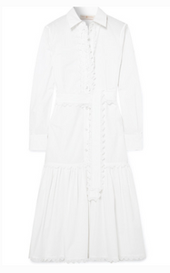 TORY BURCH BELTED SCALLOPED COTTON-POPLIN MIDI DRESS