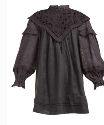 ISABEL MARANT  Galia lace and linen-poplin dress