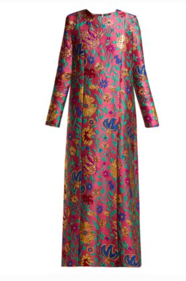 LA DOUBLEJ  Trapezio Dragon Flower-brocade maxi dress