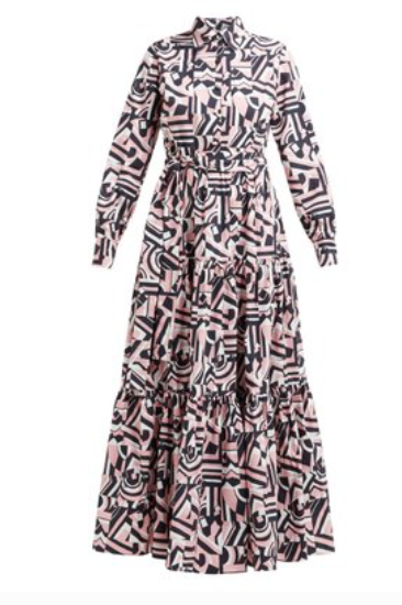 LA DOUBLEJ  Bellini Tetris-print cotton maxi shirtdress