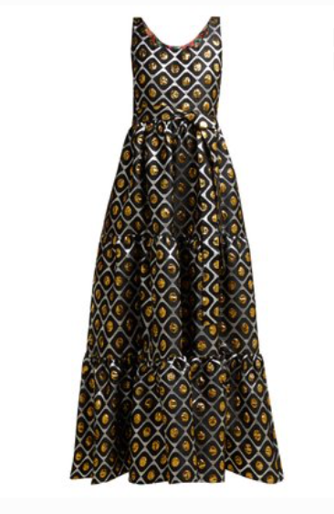 LA DOUBLEJ  Pellicano geometric-print brocade dress