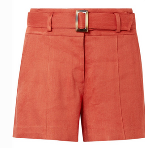 VERONICA BEARD MAKAYLA BELTED LINEN-BLEND SHORTS