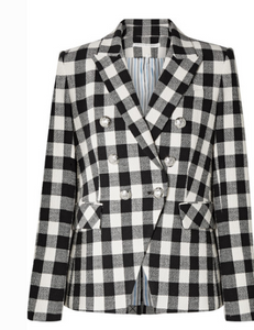 VERONICA BEARD MILLER DICKEY GINGHAM LINEN-BLEND BLAZER