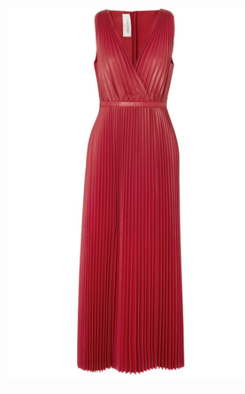 VALENTINO PLEATED LEATHER MAXI DRESS