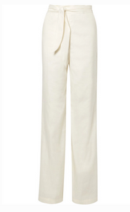 VERONICA BEARD MELIKA BELTED LINEN-BLEND WIDE-LEG PANTS