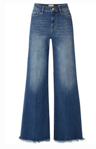 FRAME LE PALAZZO FRAYED HIGH-RISE WIDE-LEG JEANS