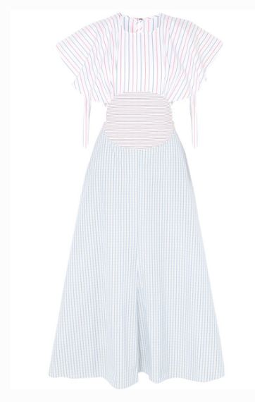 ROSIE ASSOULINE CUTOUT STRIPED COTTON-POPLIN MIDI DRESS