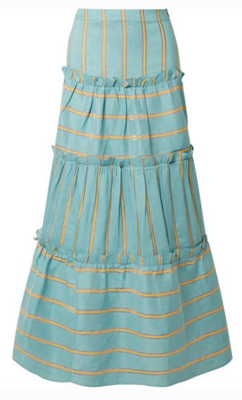 PAPER LONDON COQUILLAGE TIERED STRIPED LINEN-BLEND MAXI SKIRT
