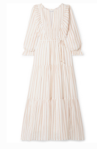 APIECE APART FRANCESCA TIERED STRIPED COTTON AND LUREX-BLEND VOILE MIDI DRESS