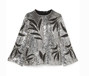 DODO BAR OR CLARA EMBELLISHED SEQUINED TULLE TOP