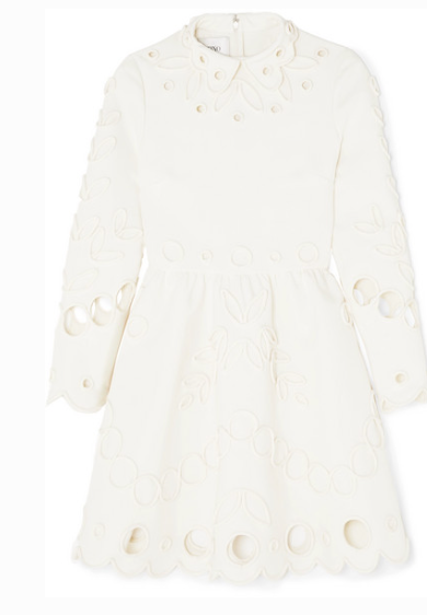 VALENTINO APPLIQUÉD LASER-CUT CREPE MINI DRESS