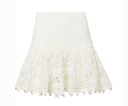 ZIMMERMANN CORSAGE POMPOM-EMBELLISHED GUIPURE LACE AND SWISS DOT-TULLE MINI SKIRT