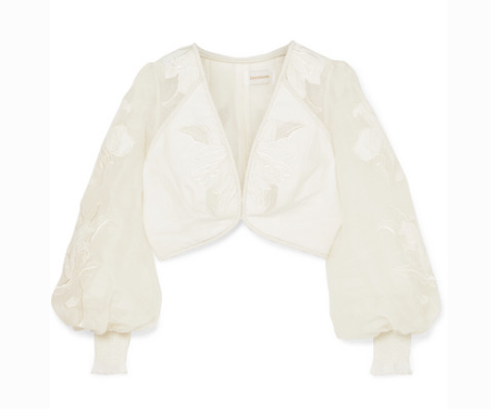 ZIMMERMANN CORSAGE CROPPED EMBROIDERED LINEN AND SILK-TOP