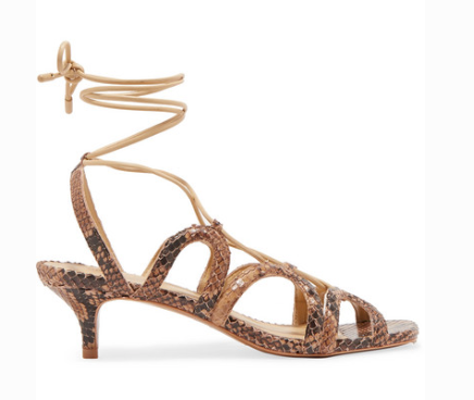 ZIMMERMANN CUTOUT SNAKE-EFFECT LEATHER SANDALS