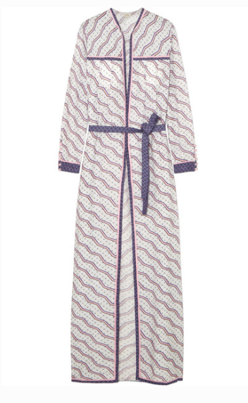 TALITHA PRINTED SILK AND COTTON-BLEND ROBE