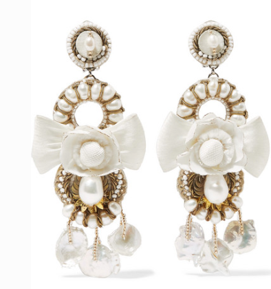 RANJANA KHAN GOLD-TONE, LEATHER AND SILK MULTI-STONE CLIP EARRINGS