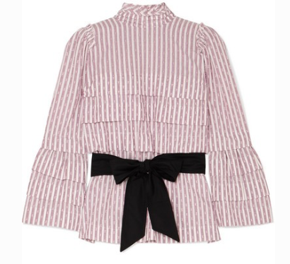 ANNA MASON Mademoiselle belted tiered striped fil coupé blouse