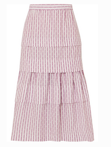 ANNA MASON Mademoiselle tiered striped fil coupé skirt