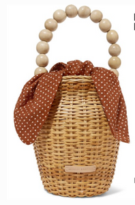 LOEFFLER RANDALL Louise wicker and polka-dot canvas tote