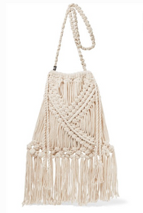 NANNACAY Lucy fringed crocheted cotton shoulder bag