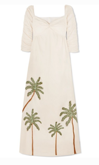 AGUA BY AGUA BENDITA America ruched embroidered linen maxi dress