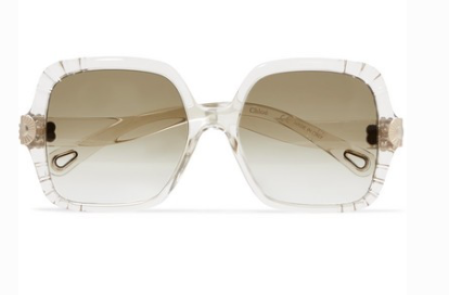 CHLOÉ Square-frame acetate and gold-tone sunglasses