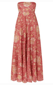 ZIMMERMANN Veneto strapless printed linen midi dress