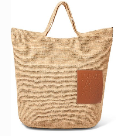 LOEWE Slit leather-trimmed woven raffia tote