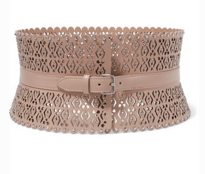 ALAÏA Laser-cut studded leather waist belt