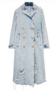 ALEXANDER WANG Distressed denim trench coat
