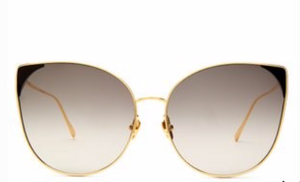 LINDA FARROW  Oversized cat-eye gold-plated sunglasses