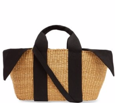 MUUÑ  George canvas and woven-grass bag