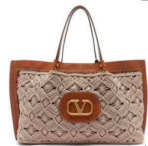 VALENTINO  Go Logo Escape macramé and leather tote bag