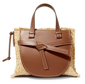 LOEWE Gate small leather and raffia tote