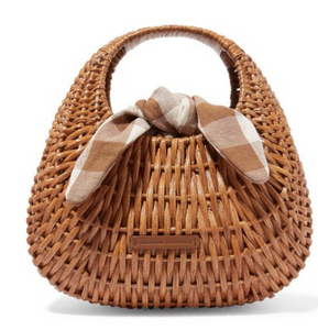 LOEFFLER RANDALL Lorna wicker and gingham canvas tote