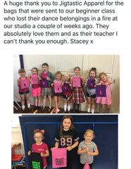 Picture of Irish Dancers with Jigtastic Shoe Bags that we donated after the Irish Dancers lost their belongings in a fire during class