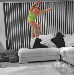 Irish Dancer  / Gynast leaping high in the air wearing a Jigtastic Crop Top